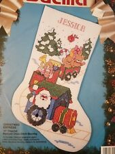 83054 Bucilla CHRISTMAS EXPRESS Santa Train Counted Cross Stitch STOCKING Kit NP