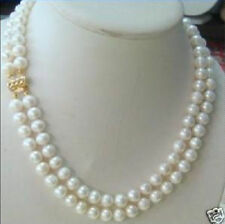 2 rows 7-8MM DOUBLE STRAND WHITE PEARL NECKLACE