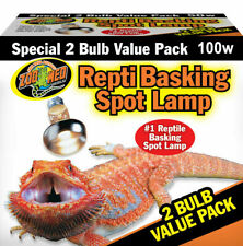 Zoo Med Repti Basking Spot 2x 100W Screw Fit Reptile and Amphibian Heat Lamp