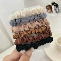 6Pcs Women Girl's Elastic Hair Bands Silk Satin Hair Ties Ponytail Holder Ropes