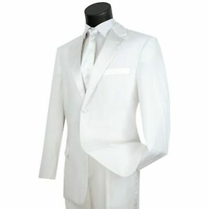 LUCCI Men's White Classic Fit Formal Tuxedo Suit w/ Sateen Lapel & Trim NEW