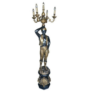 RIGHT ARM UP BLACKAMOOR BLACK AND GOLD  FLOOR LAMP WITH 5 LIGHT CANDELABRA - NEW