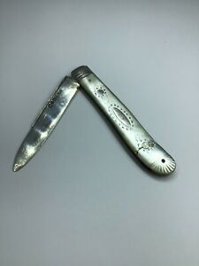 1830 Georgian Solid Silver Mother-Of-Pearl Fruit Knife Antique 191 Years Old