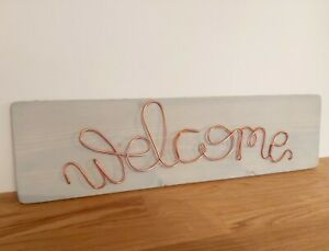 Wooden Welcome Sign, shabby chic, handmade, wire