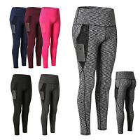 Women's High Waist Yoga Pants With Pocket Tummy Control Running Workout Leggings