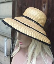 sutton studio Vintage style straw wide brim sun hat ITALY Bloomingdales New