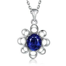 Jewelry Pendant Necklace Noble Color Crystal Blue Flower Inlaid Pattern Women