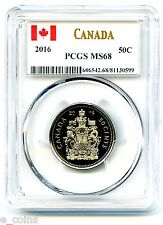 2016 CANADA 50 CENT HALF DOLLAR PCGS MS68... SUPER RARE...TOP POPULATION
