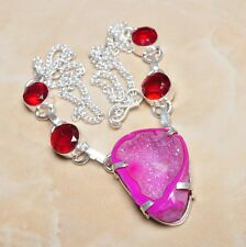 "Handmade Druzy Cluster Agate Quartz 925 Sterling Silver Necklace 17.25"" #N00280"