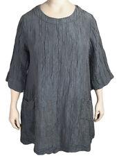 GRIZAS XXXL 18 to 22 Silk Linen Tunic Top in Gray w/Pockets NWT Originally $248