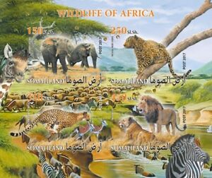 African fauna wild animals elephants lions m/s Somaliland 2017 #VG2203 IMPERF