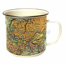 Man Of The World Map Pale Enamel Mug by Gift Republic - Great Mug Gift Idea