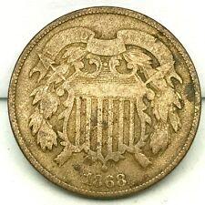 1868 Civil War Era- 2c- TWO CENT PIECE - US COPPER COIN .#2