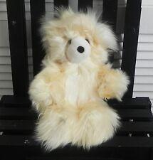 """NEW 100% Baby Alpaca 12"""" Teddy Bear Unique Cute Cuddly Fluffy Soft Beige Yellow"""