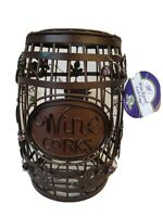 """Wine Barrel Cork Cage Epic New with Tags 10"""" Tall x 6"""" Diameter Brown Vines"""