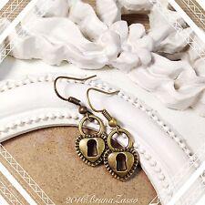 Orecchini Lucchetto Cuore Serratura Lock Earrings Bronzo Cute Vintage Hipster