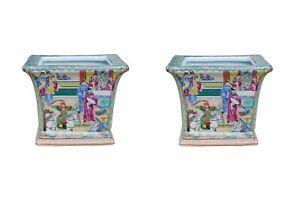"""Rose Canton Porcelain Pair of Square Flower Pots 6"""""""