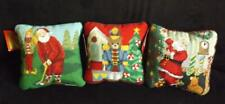 """3 Nwt Christmas Needlepoint Decorative Pillows 9"""" Square Wool"""
