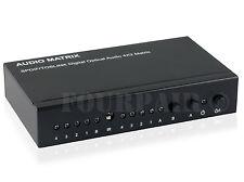 SPDIF Toslink Optical Digital Audio True Matrix 4x2 Switch Splitter IR Remote