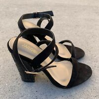 Pattern Thick Black Heels Single Strap Size 6.5