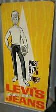 Circa 1960's LEVI'S JEANS Cardboard STAND UP Counter Display ADVERTISING SIGN