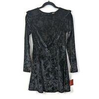 New Mossimo Crushed Velvet Long Sleeve Mini Dress - Black - Size Medium - NWT!