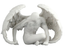 Winged Male Nude Angel Sitting White Finish Statue Sculpture Figurine