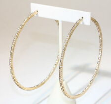 """eli k Gold Plate & Clear Crystals Inside / Out 2 1/3"""" Hoop Earrings"""