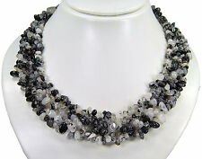 Beautiful Necklace from the gemstone tourmaline quartz shards multiple-row