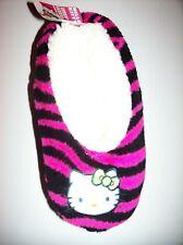 Hello Kitty Girls Slipper Socks Striped Warm Fuzzy Babba 1pr Sz S/M NIP
