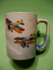 Vintage OTAGIRI Japan Biplanes mug. Vivid colors. Hand-painted gold accents. Exc