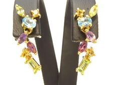 Ohrringe earrings 750 GOLD boucle oreille Peridot Citrin Aquamarin Amethyst 18kt