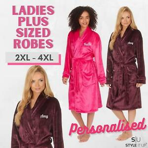 Personalised Ladies Plus Sizes Dressing Gown Super Soft Womens Robe Housecoat