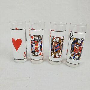 Lot of 4 Vintage Playing Face Card Poker Shot Glass Retro Barware Game Night 2oz