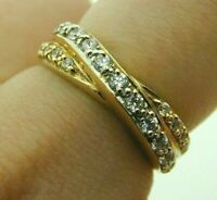 14 Carat Yellow Gold and Cubic Zirconia Crossover Twist Ring 3.4 grams Size O