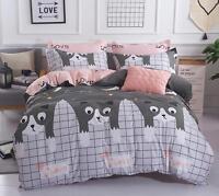 Plaid Cat Cotton Doona Duvet Cover Bedding Set Pillowcase Single Queen King Size
