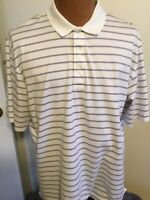 Ralph Lauren Polo Golf Large White w Purple&Green Stripped Short Sleeved Polo