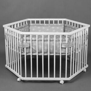 Laufgitter Laufstall 6-eckig, Baby Krabbelgitter höhenverstellbar + Einlage