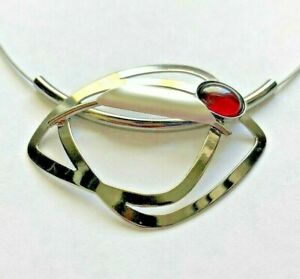 Christophe Poly necklace double wire magnetic clasp extension silver red