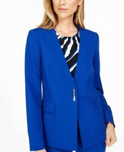 Calvin Klein Womens Suit Jacket Blazer Royal Blue Stretch Lined Pockets 4 New
