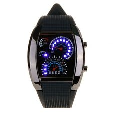 New Meter Dial Black Rubber Strap Blue Flash Dot Matrix LED Racing Watch LW