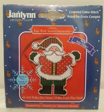 NEW Janlynn Fun With Santa Polka Dot Christmas Ornament Counted Cross Stitch Kit