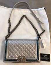 e32c4bc26c0403 NWT Chanel Quilted Medium Boy Bag Embellished Crystal Silver Metallic $10800