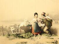 """F.TEICHEL(19.Jh), """"Ländliche Freuden"""", Kindliches Liebespaar mit Ziegen, Lith."""