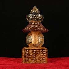 China old Antique Tibet Be unearthed crystal carved  Inscription Sharipu Stupa