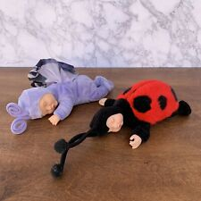 "Anne Geddes Speeping Baby Butterfly & Ladybug 2 Doll Plush 8"" Vinyl"
