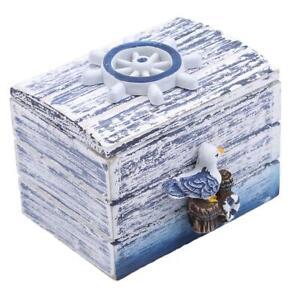 Mini Sea Wooden Pirate Treasure Jewellery Storage Chest Craft Box Organizer LA