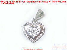 #3334 MOM HEART LOVE Gifts engraved  Charm 925 Silver Jewelry Pendant Necklace
