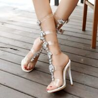 Fashion Women Summer Gladiator Knee High Boots Heels Sandals Clear Strappy Shoes