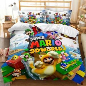Anime Game Super Mario 3d Bedding Set Duvet Covers Cosplay Pillowcase Bedclothes